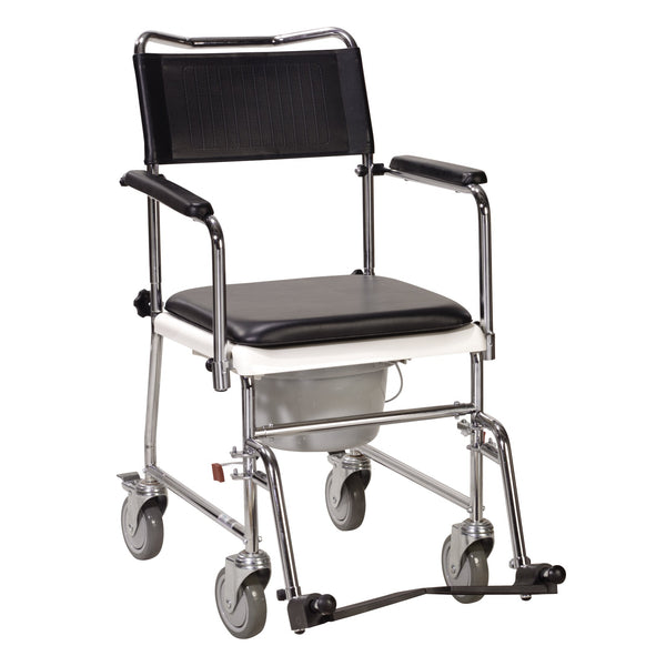 Portable Upholstered Wheeled Drop Arm Bedside Commode, Silver Vein - Discount Homecare & Mobility Products