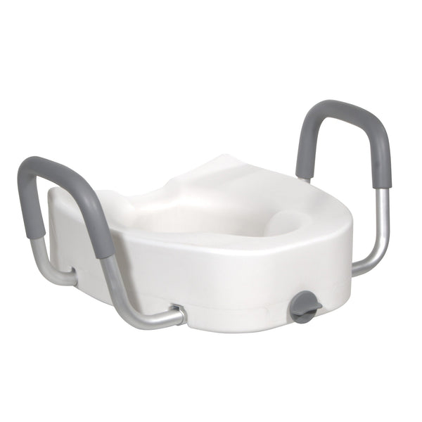 Premium Plastic Raised Toilet Seat with Lock and Padded Armrests, Elongated - Discount Homecare & Mobility Products