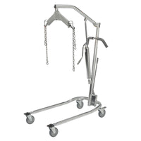 "Hydraulic Patient Lift with Six Point Cradle, 5"" Casters, Chrome - Discount Homecare & Mobility Products"