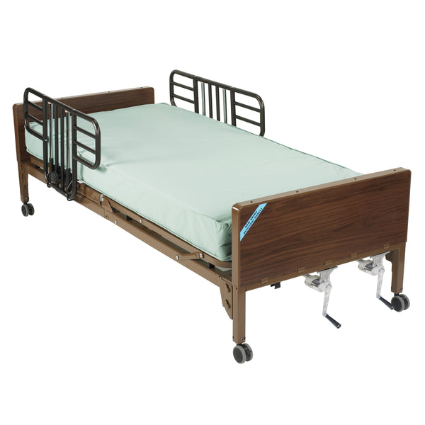 Multi Height Manual Hospital Bed with Half Rails and Therapeutic Support Mattress - Discount Homecare & Mobility Products