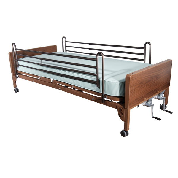 Multi Height Manual Hospital Bed with Full Rails and Therapeutic Support Mattress - Discount Homecare & Mobility Products