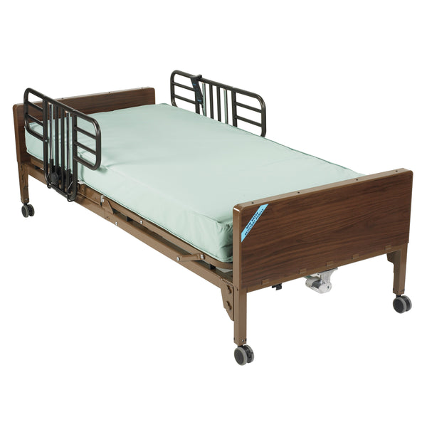 Semi Electric Hospital Bed with Half Rails and Therapeutic Support Mattress - Discount Homecare & Mobility Products