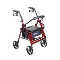 Duet Dual Function Transport Wheelchair Rollator Rolling Walker, Burgundy - Discount Homecare & Mobility Products