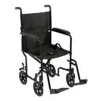 "Lightweight Transport Wheelchair, 17"" Seat, Black - Discount Homecare & Mobility Products"