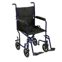 "Lightweight Transport Wheelchair, 17"" Seat, Blue - Discount Homecare & Mobility Products"