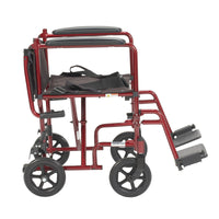 "Lightweight Transport Wheelchair, 17"" Seat, Red - Discount Homecare & Mobility Products"