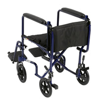 "Lightweight Transport Wheelchair, 19"" Seat, Blue - Discount Homecare & Mobility Products"
