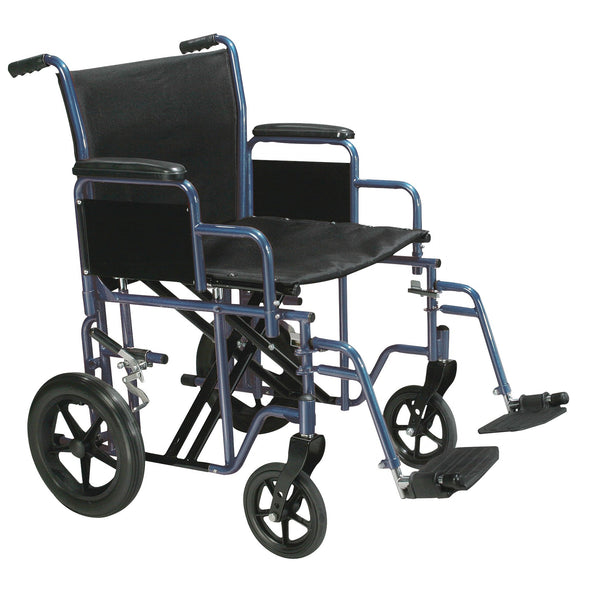 "Bariatric Heavy Duty Transport Wheelchair with Swing Away Footrest, 22"" Seat, Blue - Discount Homecare & Mobility Products"