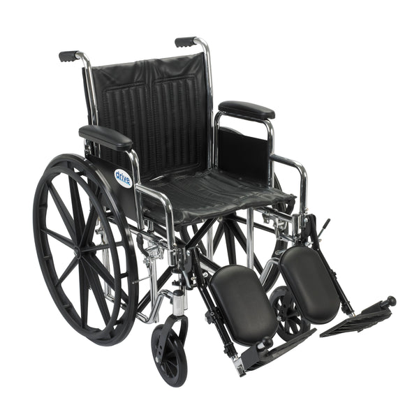 "Chrome Sport Wheelchair, Detachable Desk Arms, Elevating Leg Rests, 18"" Seat - Discount Homecare & Mobility Products"