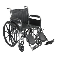 "Chrome Sport Wheelchair, Detachable Full Arms, Elevating Leg Rests, 20"" Seat - Discount Homecare & Mobility Products"