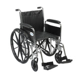 "Chrome Sport Wheelchair, Detachable Full Arms, Swing away Footrests, 20"" Seat - Discount Homecare & Mobility Products"