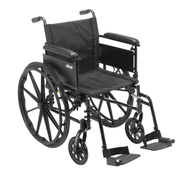 "Cruiser X4 Lightweight Dual Axle Wheelchair with Adjustable Detachable Arms, Full Arms, Swing Away Footrests, 20"" Seat - Discount Homecare & Mobility Products"