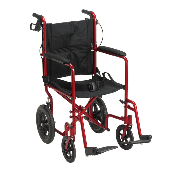 Lightweight Expedition Transport Wheelchair with Hand Brakes, Red - Discount Homecare & Mobility Products