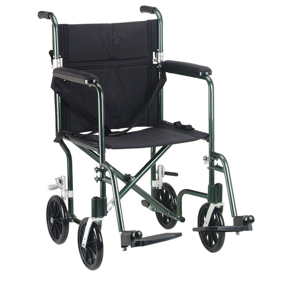 "Flyweight Lightweight Folding Transport Wheelchair, 17"", Green Frame, Black Upholstery - Discount Homecare & Mobility Products"