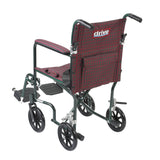 "Flyweight Lightweight Folding Transport Wheelchair, 19"", Green Frame, Burgundy Upholstery - Discount Homecare & Mobility Products"