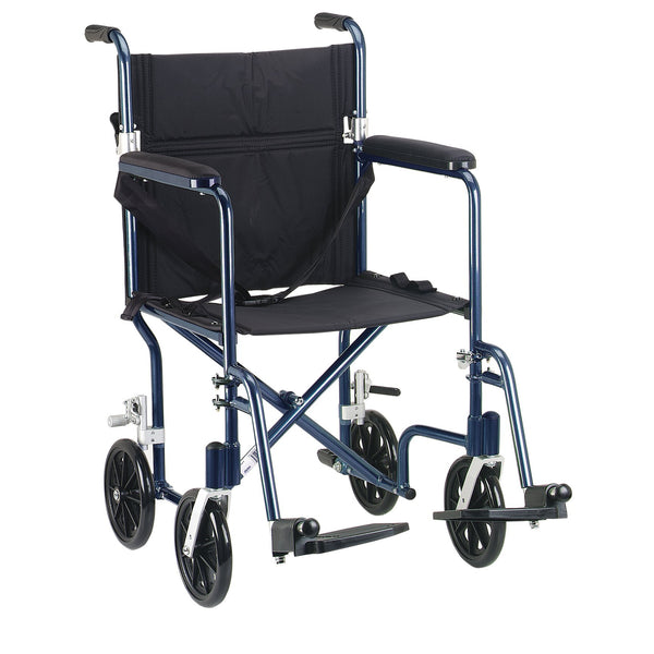 "Flyweight Lightweight Folding Transport Wheelchair, 19"", Blue Frame, Black Upholstery - Discount Homecare & Mobility Products"