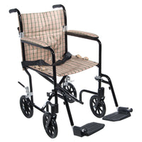 "Flyweight Lightweight Folding Transport Wheelchair, 19"", Black Frame, Tan Plaid Upholstery - Discount Homecare & Mobility Products"