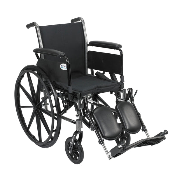 "Cruiser III Light Weight Wheelchair with Flip Back Removable Arms, Full Arms, Elevating Leg Rests, 18"" Seat - Discount Homecare & Mobility Products"