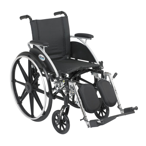 "Viper Wheelchair with Flip Back Removable Arms, Desk Arms, Elevating Leg Rests, 12"" Seat - Discount Homecare & Mobility Products"