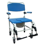 Aluminum Bariatric Rehab Shower Commode Chair with Two Rear-Locking Casters - Discount Homecare & Mobility Products