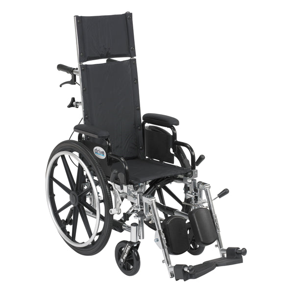"Viper Plus Light Weight Reclining Wheelchair with Elevating Leg Rests and Flip Back Detachable Arms, 12"" Seat - Discount Homecare & Mobility Products"