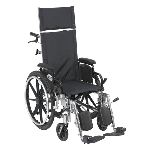 "Viper Plus Light Weight Reclining Wheelchair with Elevating Leg Rests and Flip Back Detachable Arms, 14"" Seat - Discount Homecare & Mobility Products"