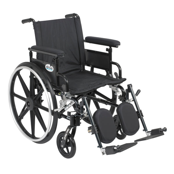 "Viper Plus GT Wheelchair with Flip Back Removable Adjustable Full Arms, Elevating Leg Rests, 20"" Seat - Discount Homecare & Mobility Products"