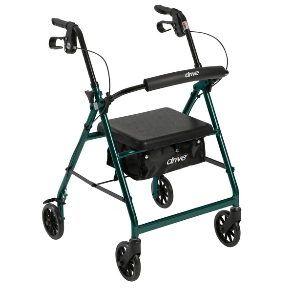 "Rollator Rolling Walker with 6"" Wheels, Fold Up Removable Back Support and Padded Seat, Green - Discount Homecare & Mobility Products"