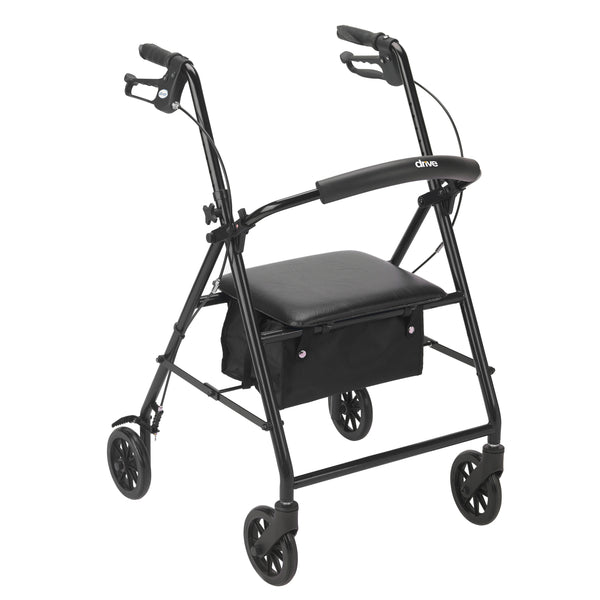 "Rollator Rolling Walker with 6"" Wheels, Black - Discount Homecare & Mobility Products"