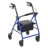 "Rollator Rolling Walker with 6"" Wheels, Blue - Discount Homecare & Mobility Products"