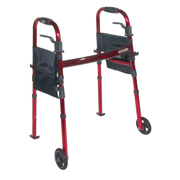 "Portable Folding Travel Walker with 5"" Wheels and Fold up Legs - Discount Homecare & Mobility Products"