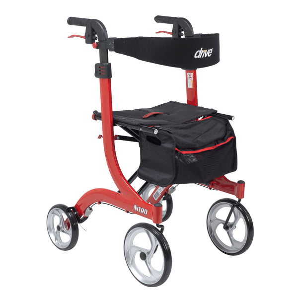 Nitro Euro Style Rollator Rolling Walker, Tall, Red - Discount Homecare & Mobility Products