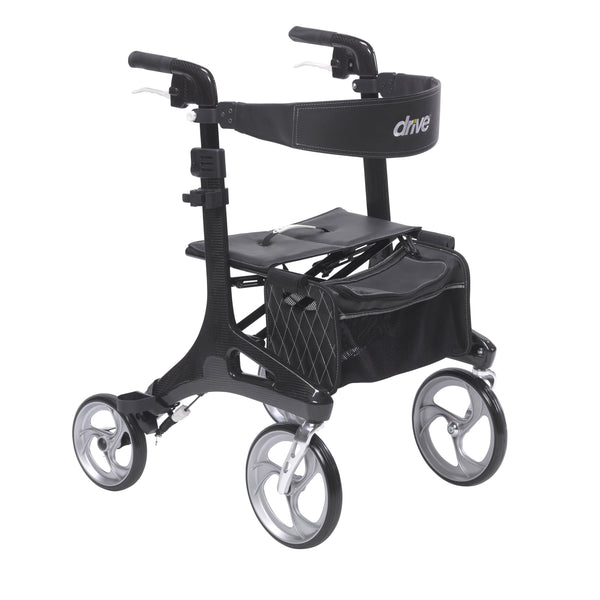 Nitro Elite CF Carbon Fiber Rollator Rolling Walker, Black - Discount Homecare & Mobility Products