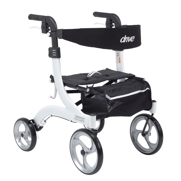 Nitro Euro Style Rollator Rolling Walker, Hemi Height, White - Discount Homecare & Mobility Products