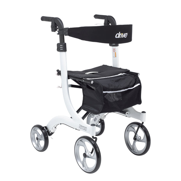 Nitro Euro Style Rollator Rolling Walker, Tall, White - Discount Homecare & Mobility Products