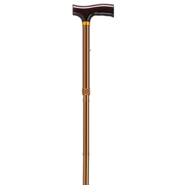 Lightweight Adjustable Folding Cane with T Handle, Bronze - Discount Homecare & Mobility Products