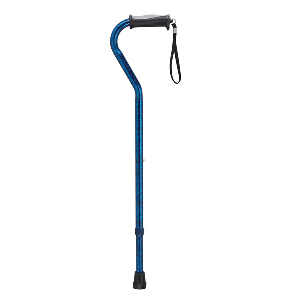 Adjustable Height Offset Handle Cane with Gel Hand Grip, Blue Crackle - Discount Homecare & Mobility Products