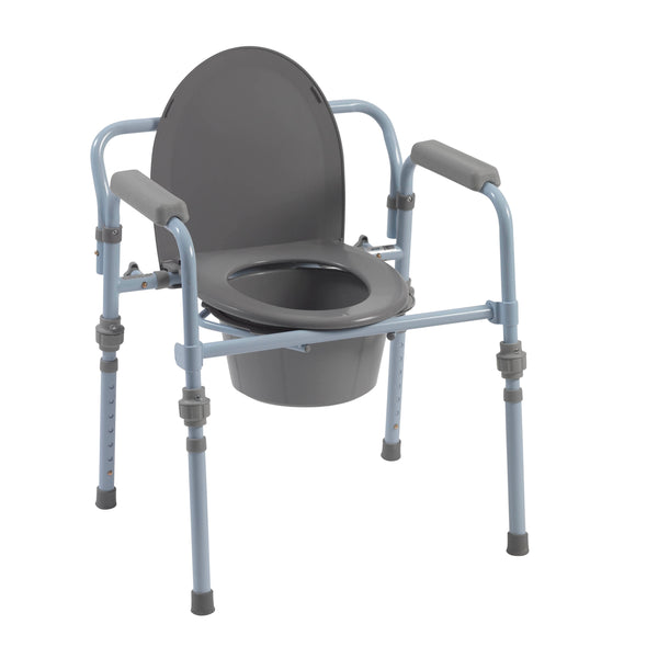 Folding Bedside Commode with Bucket and Splash Guard - Discount Homecare & Mobility Products