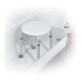 Adjustable Height Bath Stool, White - Discount Homecare & Mobility Products