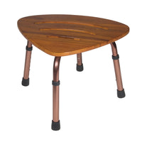 Adjustable Height Teak Bath Bench Stool, Triangular - Discount Homecare & Mobility Products