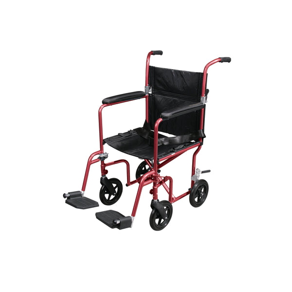 Flyweight Lightweight Transport Wheelchair with Removable Wheels, Red - Discount Homecare & Mobility Products