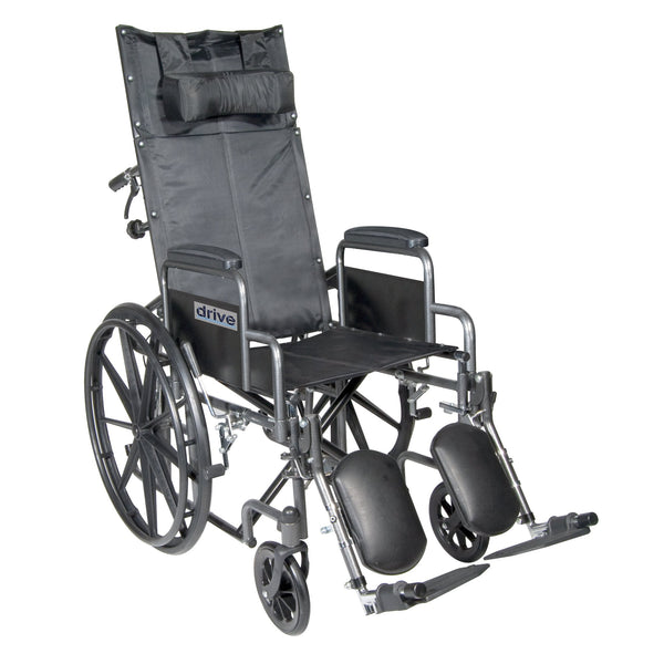 "Silver Sport Reclining Wheelchair with Elevating Leg Rests, Detachable Desk Arms, 18"" Seat - Discount Homecare & Mobility Products"