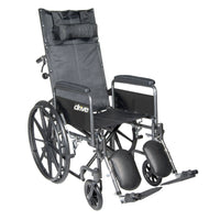 "Silver Sport Reclining Wheelchair with Elevating Leg Rests, Detachable Full Arms, 18"" Seat - Discount Homecare & Mobility Products"