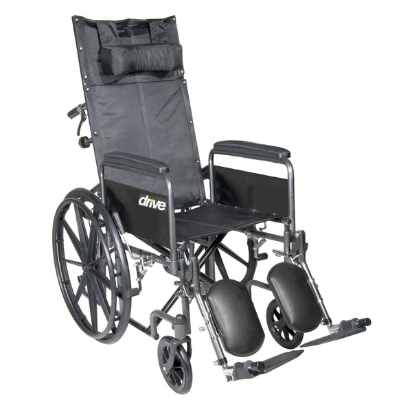 "Silver Sport Reclining Wheelchair with Elevating Leg Rests, Detachable Full Arms, 20"" Seat - Discount Homecare & Mobility Products"