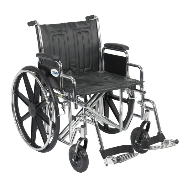 "Sentra EC Heavy Duty Wheelchair, Detachable Desk Arms, Swing away Footrests, 20"" Seat - Discount Homecare & Mobility Products"
