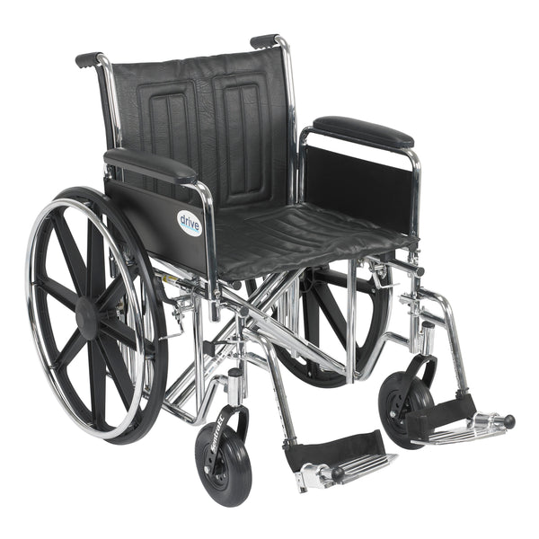 "Sentra EC Heavy Duty Wheelchair, Detachable Full Arms, Swing away Footrests, 20"" Seat - Discount Homecare & Mobility Products"