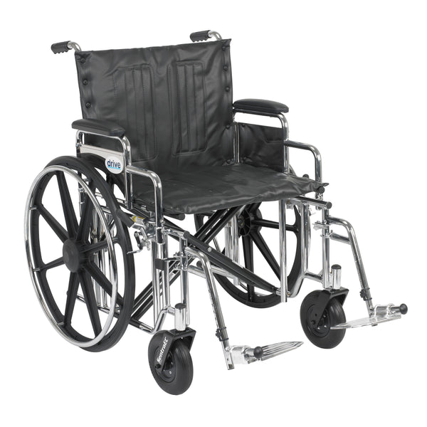 "Sentra Extra Heavy Duty Wheelchair, Detachable Desk Arms, Swing away Footrests, 22"" Seat - Discount Homecare & Mobility Products"