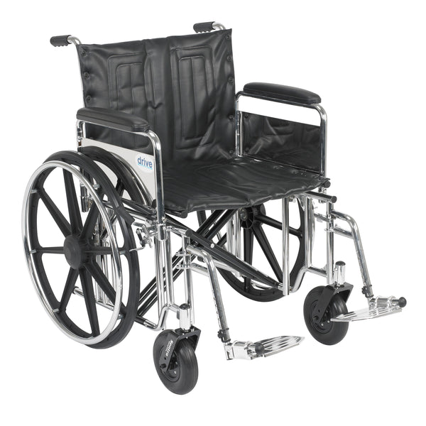 "Sentra Extra Heavy Duty Wheelchair, Detachable Full Arms, Swing away Footrests, 22"" Seat - Discount Homecare & Mobility Products"