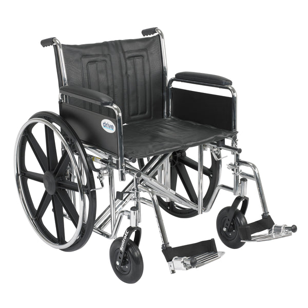 "Sentra EC Heavy Duty Wheelchair, Detachable Full Arms, Swing away Footrests, 22"" Seat - Discount Homecare & Mobility Products"