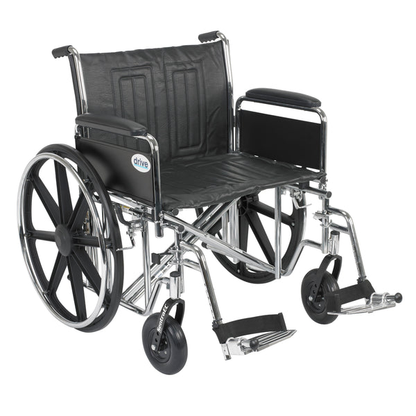 "Sentra EC Heavy Duty Wheelchair, Detachable Full Arms, Swing away Footrests, 24"" Seat - Discount Homecare & Mobility Products"